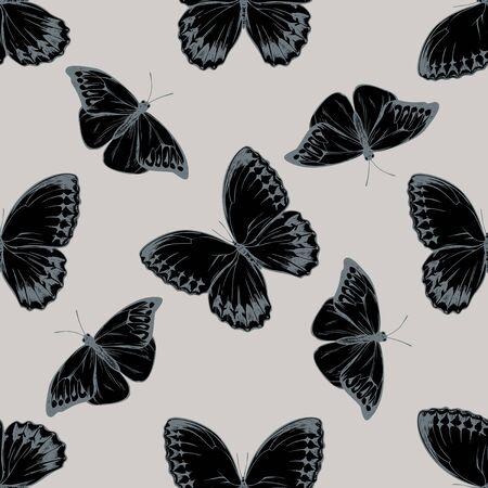 Seamless pattern with hand drawn stylized hebomoia glaucippe, stichophthalma howqua stock illustration