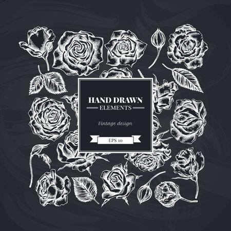 Square floral design with chalk roses stock illustration Stock Illustratie