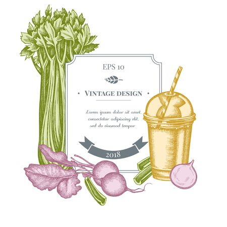 Badge design with pastel beet, smoothie cup, celery stock illustration Stock Illustratie