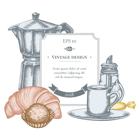 Badge design with pastel candies, croissants and bread, espresso cup, coffee pot, sugar bowl, truffle stock illustration