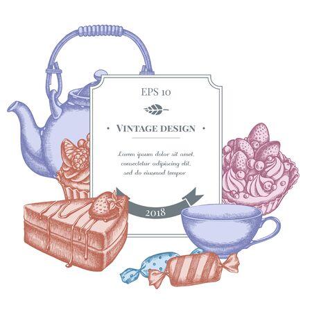Conception d'insigne avec des bonbons pastel, petit gâteau, théières, tasses, gâteau, gâteau illustration stock Vecteurs