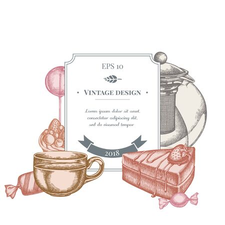 Badge design with pastel lollipop, candies, teapots, cups, cake, tartlet stock illustration
