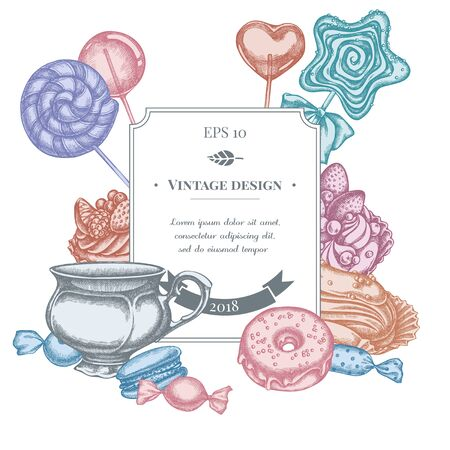 Badge design with pastel macaron, lollipop, candies, lollipop, eclair, cupcake, cups, donut, cake stock illustration Stock Illustratie