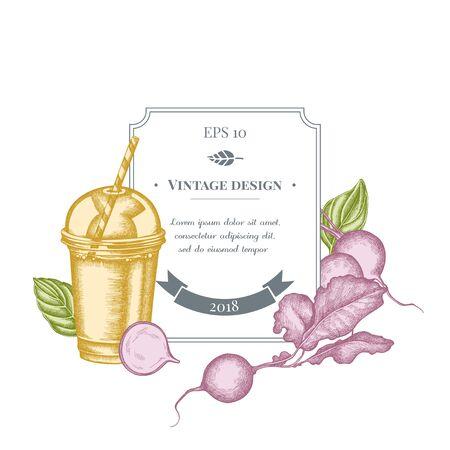 Badge design with pastel radish, greenery, basil, smoothie cup stock illustration