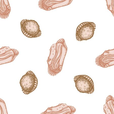 Seamless pattern with hand drawn pastel eclair, truffle stock illustration Illustration