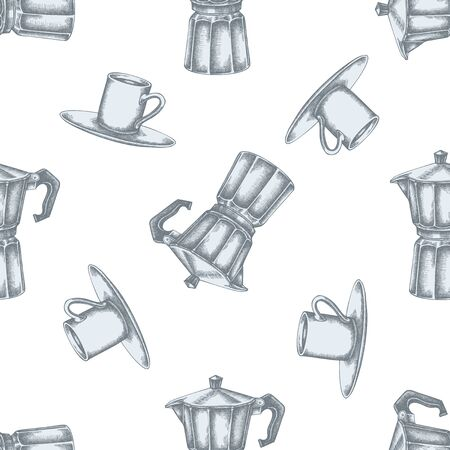 Seamless pattern with hand drawn pastel espresso cup, coffee pot stock illustration