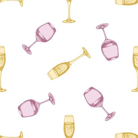 Seamless pattern with hand drawn pastel glass of champagne, glass of wine stock illustration