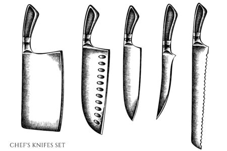 Vector set of hand drawn black and white Chef's knifes stock illustration
