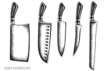Vektorsatz handgezeichnete schwarz-weiße Kochmesser Stockillustration Vektorgrafik