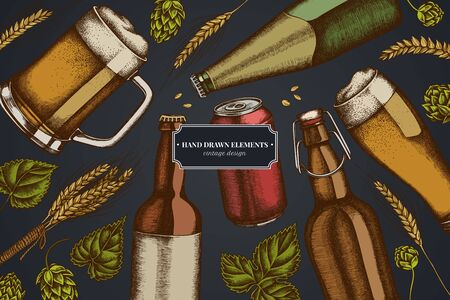 Design on dark background with rye, hop, mug of beer, bottles of beer, aluminum can stock illustration