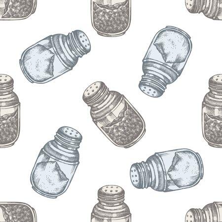 Seamless pattern with hand drawn pastel pepper shaker, salt shaker stock illustration Stock Illustratie