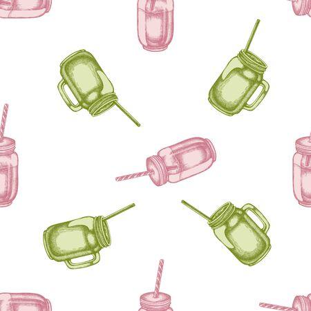 Seamless pattern with hand drawn pastel smothie jars stock illustration Stock Illustratie