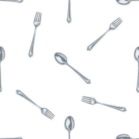 Naadloze patroon met hand getrokken pastel lepel, vork Stockillustratie Vector Illustratie