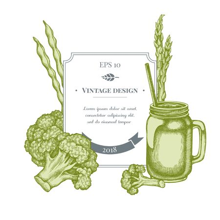 Badge design with pastel broccoli, green beans, smothie jars stock illustration