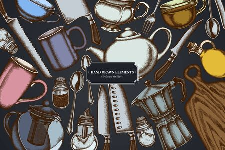 Design on dark background with Chef's knifes, teaspoon, spoon, fork, knife, cutting board, bottle of oil, teapots, coffee pot, cups, sugar bowl, pepper shaker, salt shaker stock illustration Stock Illustratie