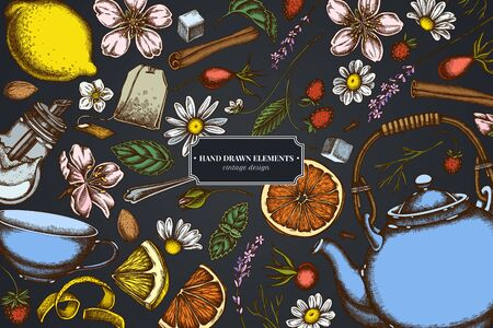 Design on dark background with cinnamon, lemons, oranges, tea bag, sugar cubes, heather, chamomile, dog rose, peppermint, almond, strawberry, teaspoon, teapots, cups, sugar bowl stock illustration Stock Illustratie