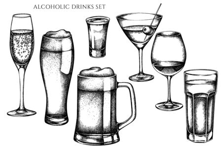 Vector set of hand drawn black and white glass, mug of beer, alcohol shot, glass of champagne, glass of wine, glass of martini