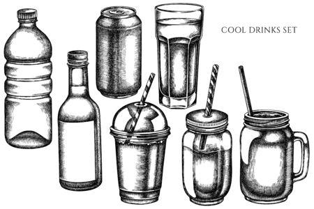 Vector set of hand drawn black and white glass, plastic bottle, bottle of lemonade, smoothie cup, aluminum can, smothie jars stock illustration