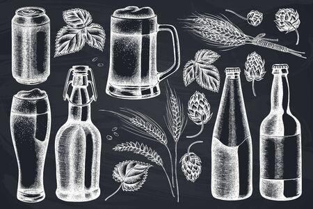 Vector set of hand drawn chalk rye, hop, mug of beer, bottles of beer, aluminum can stock illustration