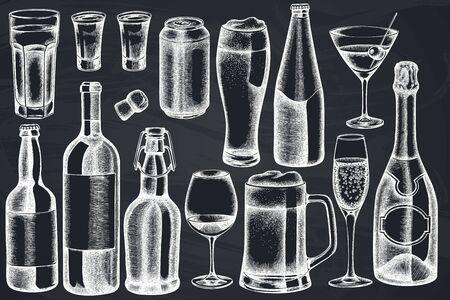 Vector set of hand drawn chalk glass, champagne, mug of beer, alcohol shot, bottles of beer, bottle of wine, glass of champagne, glass of wine, glass of martini, aluminum can