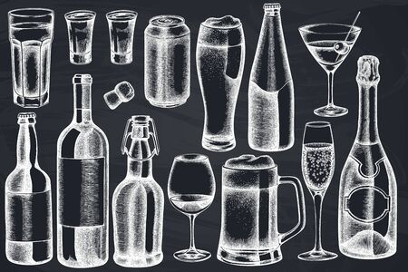 Vector set of hand drawn chalk glass, champagne, mug of beer, alcohol shot, bottles of beer, bottle of wine, glass of champagne, glass of wine, glass of martini, aluminum can stock illustration