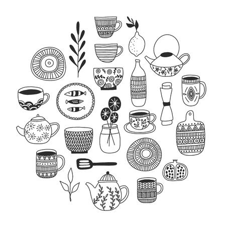 Collezione di stoviglie semplice ed elegante in un design moderno disegnato a mano. Illustrazione vettoriale. Ceramiche giapponesi, piatti, tazze, ecc. Concetto di artigianato per loghi, menu, biglietti di auguri.