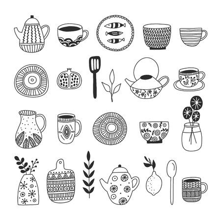 Simple elegant kitchenware collection in modern hand drawn design. Vector illustration. Japanese ceramics, dishes, mugs, etc. Craft concept for logos, menu, greeting cards. Logo