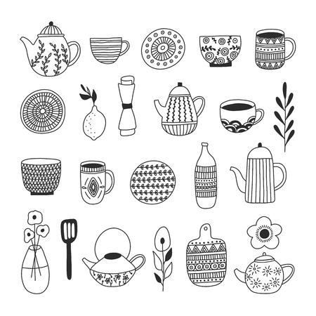 Collezione di stoviglie semplice ed elegante in un design moderno disegnato a mano. Illustrazione vettoriale. Ceramiche giapponesi, piatti, tazze, ecc. Concetto di artigianato per loghi, menu, biglietti di auguri. Vettoriali