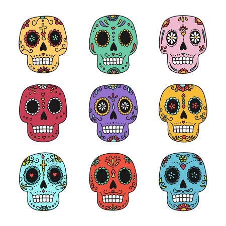 Mexican Day of the Dead. Colorful patterned vector skull set isolated on white background. Illustration