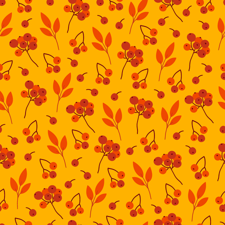 Autumn seamless pattern with red berries on yellow background. Perfect for seasonal and Thanksgiving Day greeting cards, textile, wrapping. Ilustração