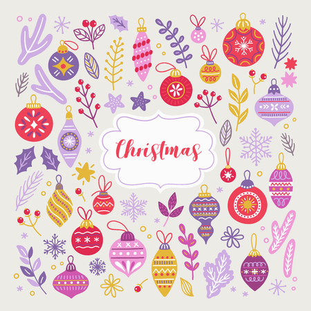 Set of Christmas design elements with balls, baubles, fir branches, berry, leaves, bow, holly, snowflakes and stars. Perfect for winter decorations. Vector hand drawn illustration.