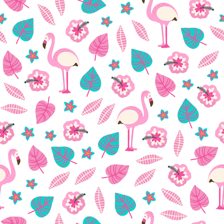 Hand drawn tropical seamless pattern with flamingo, exotic flowers and leaves on white background. Perfect for textile, paper, greeting cards, summer party decorations. Standard-Bild - 124654970