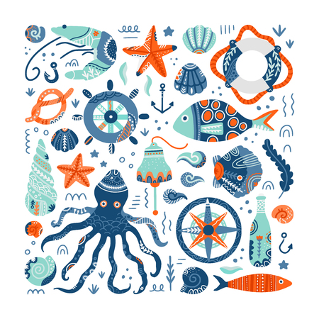 Marine symbols and creatures hand drawn vector set. Seaside life concept. Flat illustration in scandinavian style. Invitation cards, accessories design elements. Isolated on white background. Illustration