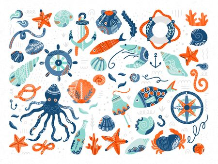 Vector collection of marine symbols and creatures. Seaside life concept. Hand drawn illustration in scandinavian style. Invitation cards, accessories design elements. Isolated on white.   イラスト・ベクター素材