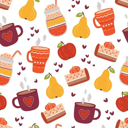 Seamless pattern with autumn hot drinks, pears and slices of pumpkin pie. Flat vector illustration in cartoon style. Hand drawn fall backdrop on white background. Bright graphic print for textile, wrapping paper.  Ilustracja