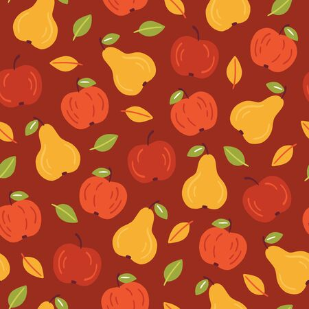 Autumn seamless pattern with apples and pears. Flat vector illustration in cartoon style. Hand drawn fall backdrop on red background. Bright graphic print for wrapping paper, textile, wallpaper.  Ilustracja