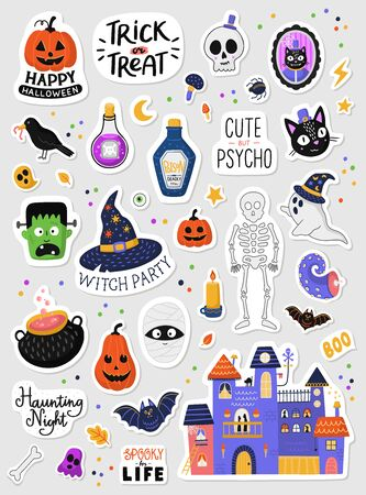 Set of cartoon Halloween stickers. Hand drawn illustration. Isolated sticker pack on light grey background. Set of stickers, patches, pins in cartoon style. Vector collection of Halloween theme elements.