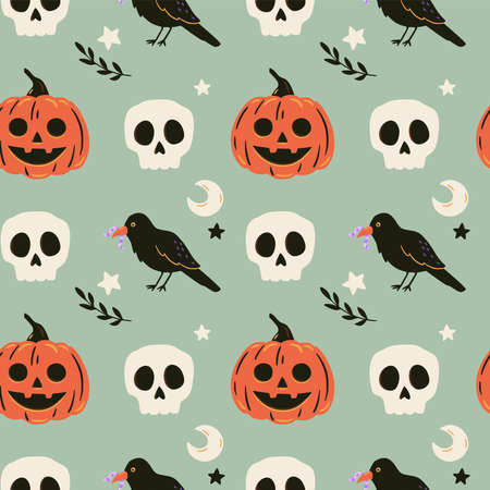 Halloween seamless pattern with ravens, skulls and pumpkin. Cute spooky vector illustration. Trick or treat holiday background. Hand drawn endless texture for textile, wrapping paper, fabric design.