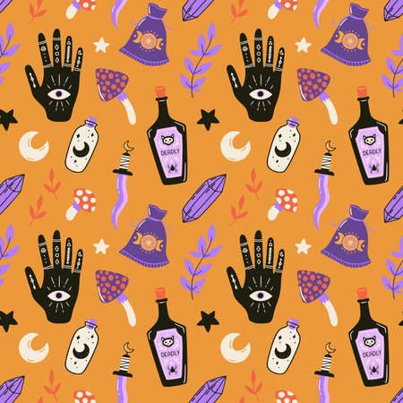 Halloween seamless pattern with esoteric elements and symbols. Cute spooky vector illustration. Trick or treat holiday background. Hand drawn endless texture for textile, wrapping paper, fabric design.