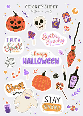 Collection of cute Halloween characters and symbols. Hand drawn design elements for holiday decorations. Halloween stickers set. Vector flat illustrations and typography. Pumpkin, ghost, skull.