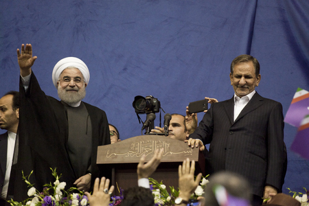 Iranian President Hassan Rouhani and first deputy Ishaq Jahangiri election rally in Tehrans Azadi Stadium, May 13, 2017.