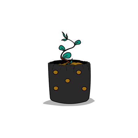 seed pots: seed with plastic pots Illustration