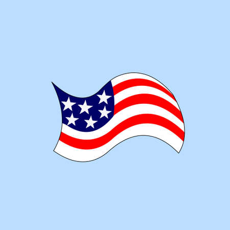 version: cartoon version of american flag Illustration