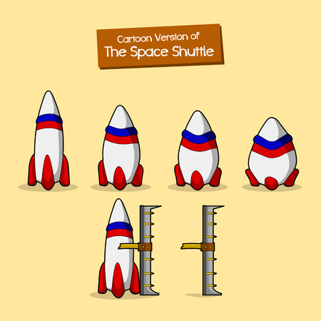 shuttle: set of cartoon space shuttle Illustration