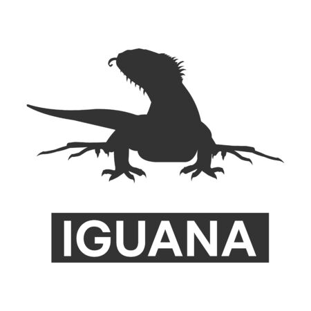 dashing: silhouette iguana with tongue out Illustration
