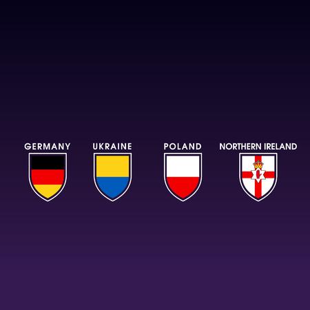 europe flag icons. shield shape. germany, ukraine, poland, northern ireland