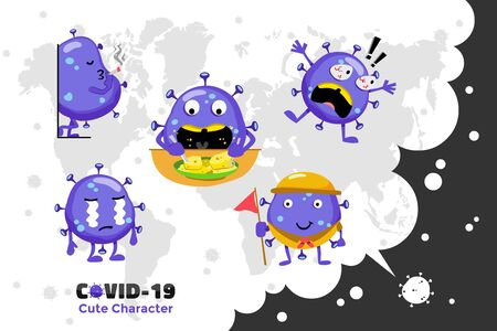 Covid-19 Coronavirus inspiration design. Cute vector character of Coronavirus in the world. Cry, shocked and eating