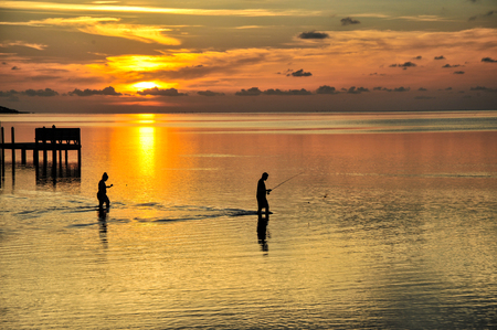 Anglers at the pamlico sound in the outer banks