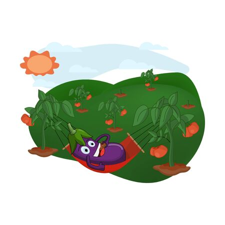 cartoon people are relaxing in the tomato garden
