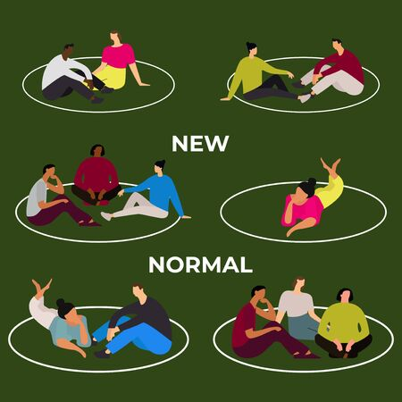 a new normal concept when people are playing in the park by maintaining physical distance. new normal illustration concept after covid-19
